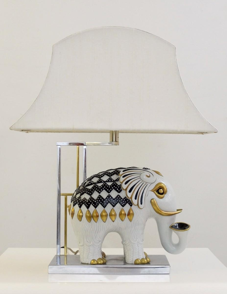 Mangani Porcelain Table Lamp   Elephant   C. 1950   Lamp   Lighting   Via  Antica. U2039