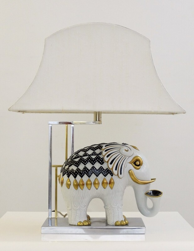 Mangani Porcelain Table Lamp - Elephant - c. 1950