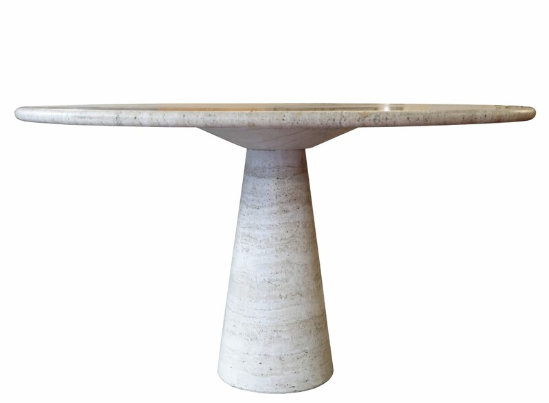 Mangiarotti Italian Round Travertine Dining Table