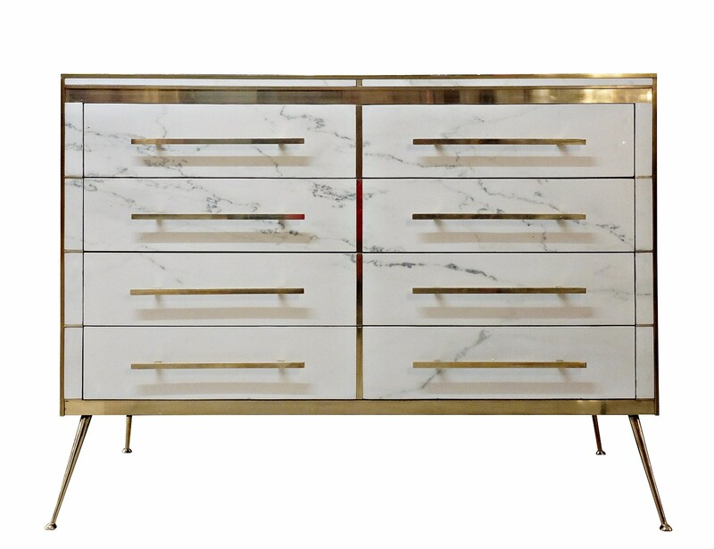 marble and brass italian chest of drawers
