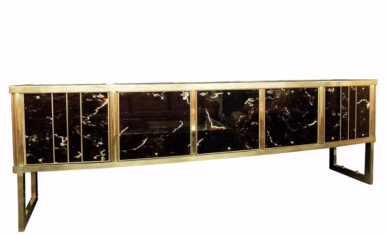 marbled glass and brass Large sideboard - Italy