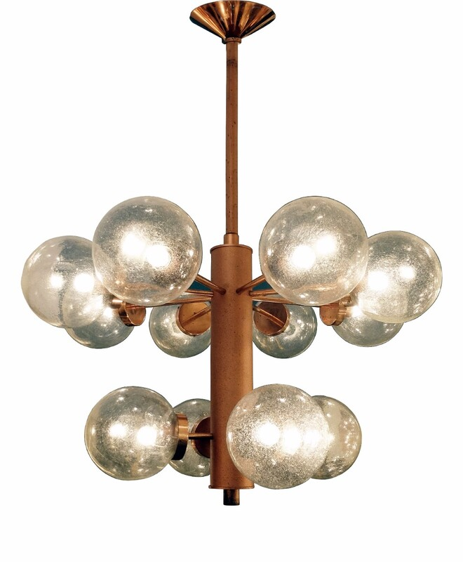 Metal Czech Chandelier With 12 Glass Spheres