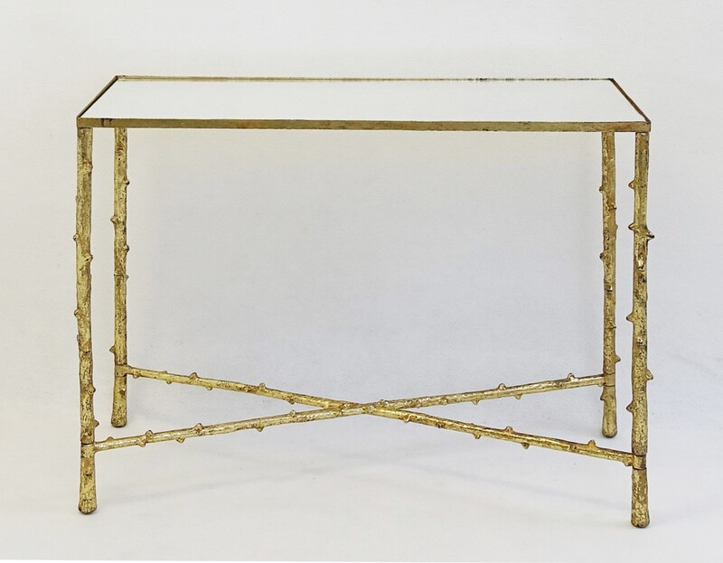 mirror and Faux Bamboo Console Table