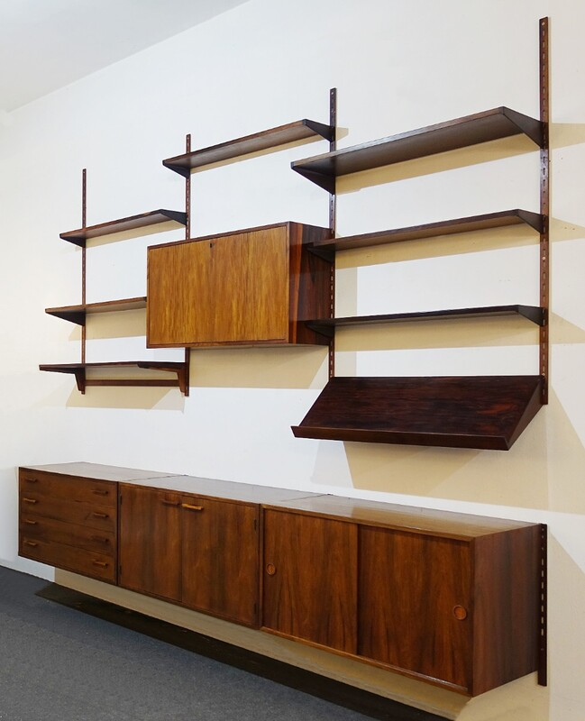 Modular Rosewood Wall Unit by Poul Cadovius