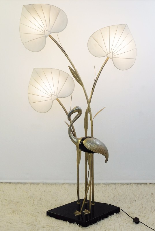 Monumental Brass Flamingo Floor Lamps in the Manner of Anthony Redmile