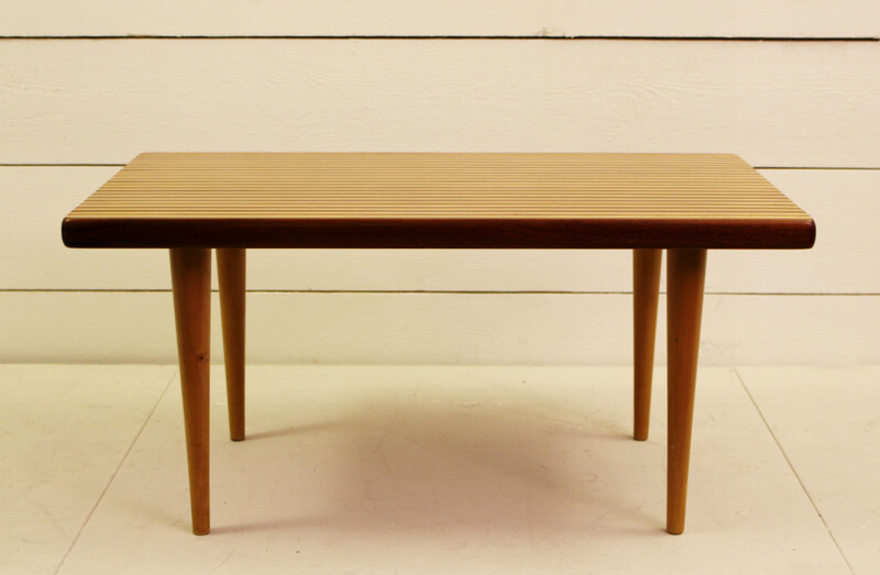 Nordiska kompaniet, Yngvar Sandström birch and walnut side table, Sweden, 1955