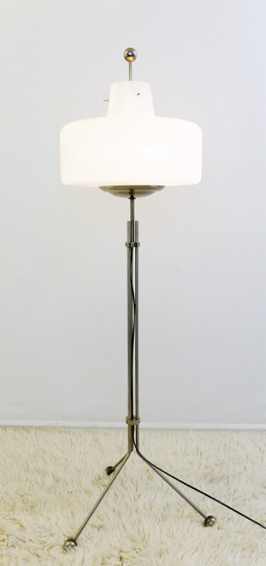 Opaline and Chrome Floor Lamp - c. 1960