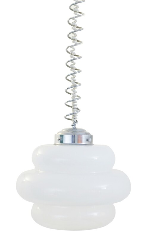 Opaline and spring chrome Ceiling Light