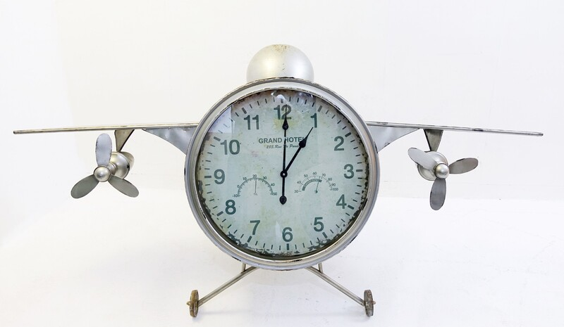 Painted Metal F-30 Model Airplane Clock