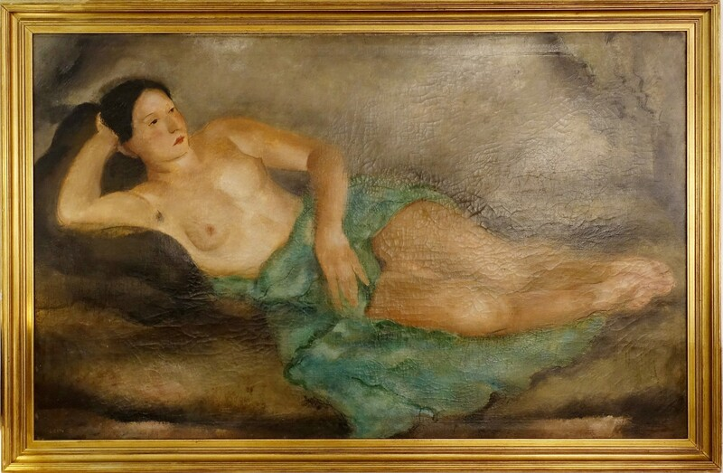 painting oil on canvas - Nude woman - signed DEVOS Léon - Belgium