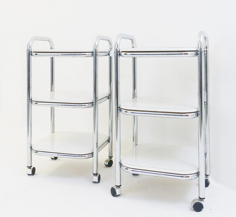 Pair of 3-Tier Rolling Serving Cart