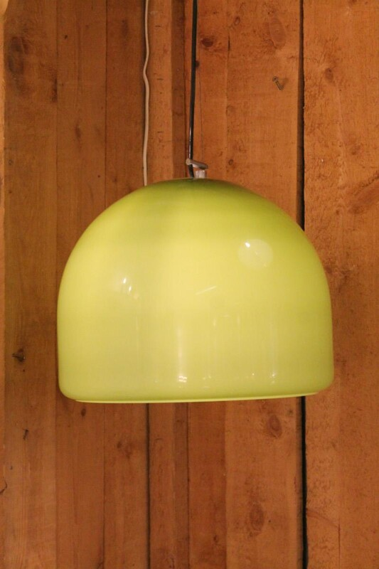 Pair of 60's pistachio ceiling lamps murano