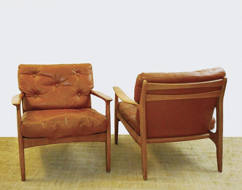 Pair of Armchairs in Cognac Brown Leather and Wood