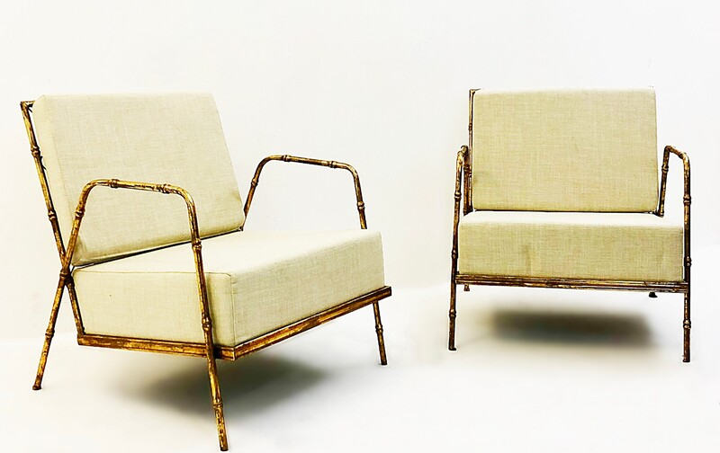 Pair of Armchairs in false bamboo, France circa 1980's