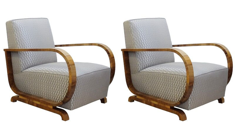 Pair of Art Deco armchairs with New Pierre Frey fabric Upholstery