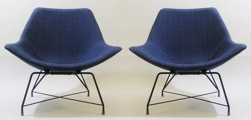 Pair of Augusto Bozzi Lounge chairs for Saporiti, Italia, 1950s