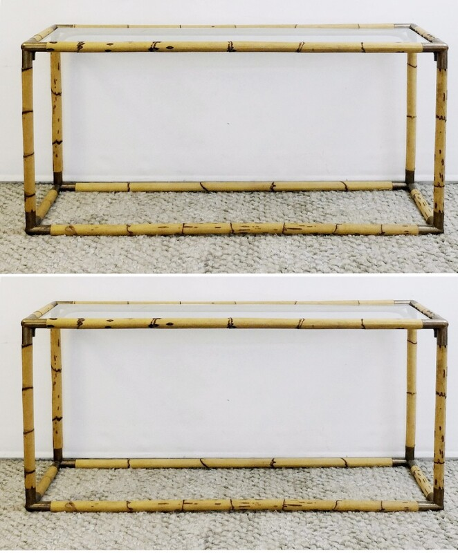 pair of Bamboo consoles with glass tops
