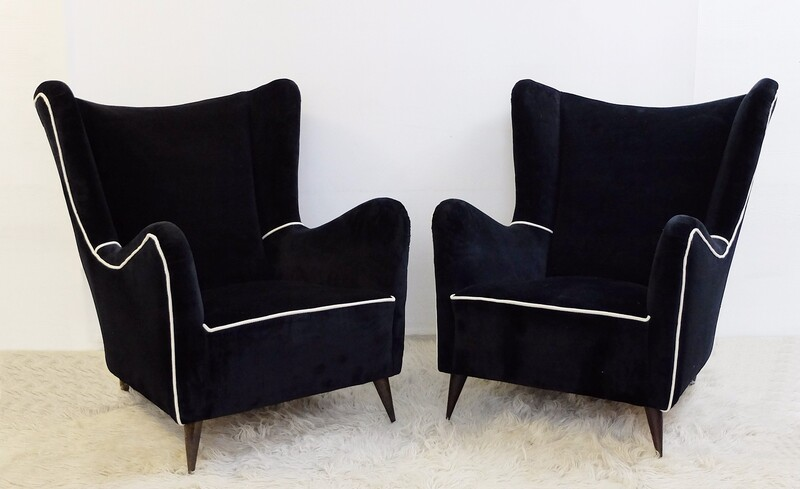 Pair of Black and White Italian Armchairs - New Upholstery