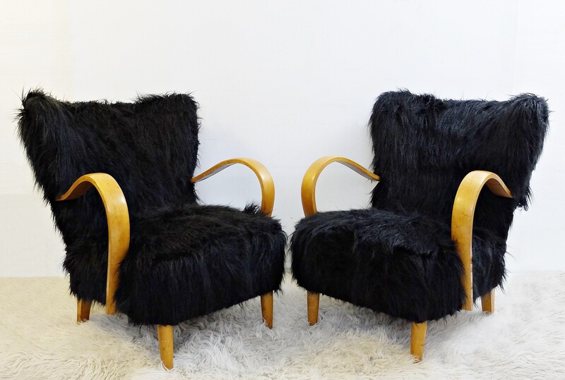 Pair of Black Faux fur armchairs