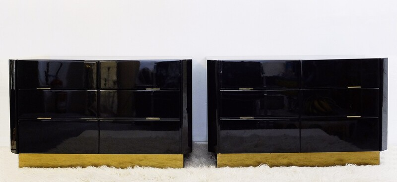 Pair of Black Lacquered and brass Commodes - 1970s