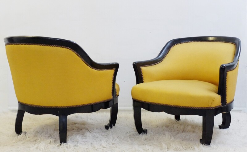 Pair of  Black Lacquered Armchairs
