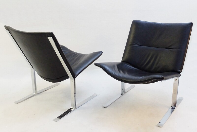 Pair of Black Leather and Chrome chairs