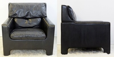 Pair of black wood Beaufort armchairs