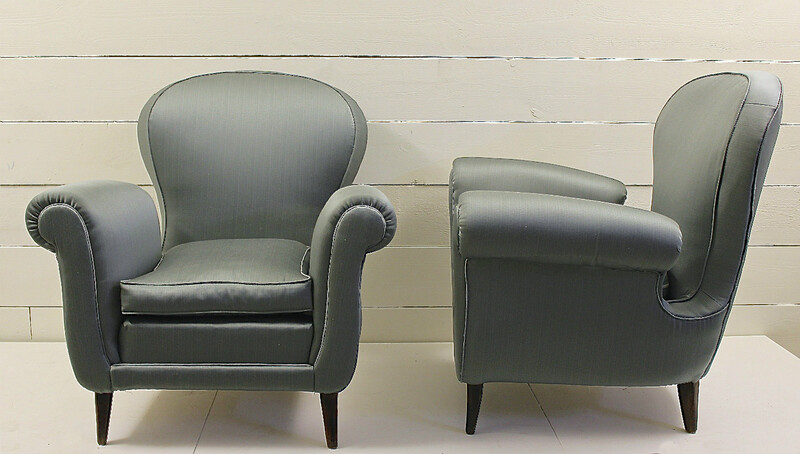 Pair of blue satin Italian armchairs, attr. to Paolo Buffa