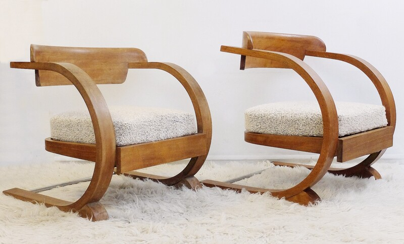 Pair of bow wood armchairs