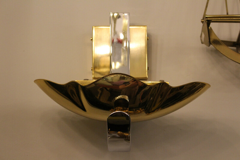 Pair of brass and chrome wall lamps