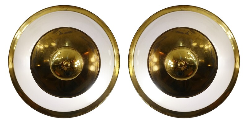 Pair of Brass and frosted glass lamps by Luigi Caccia Dominioni for Azucena