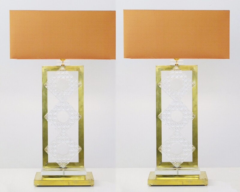 Pair Of Brass And Glass Italian Table Lamps