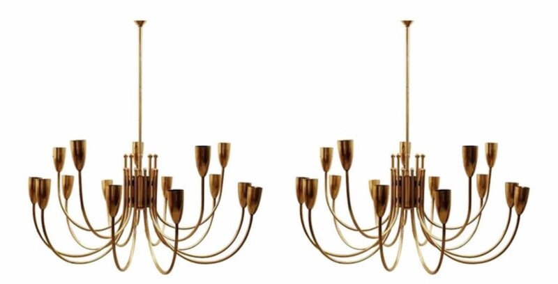 Pair of brass ceiling lights - c . 1960