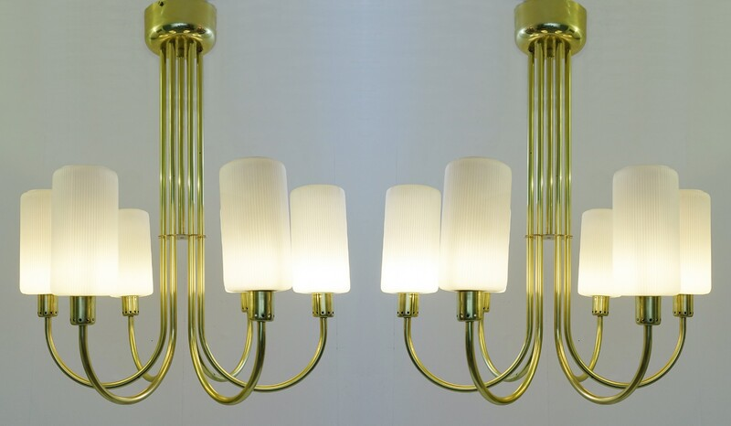 Pair of brass ceiling lights, Italy - c. 1960