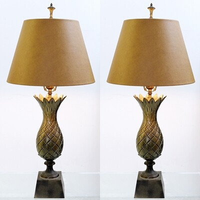 Pair of Brass Pineapple Lamps - c. 1960
