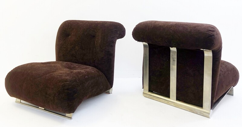 Pair of brushed chrome with brown Velvet Cushions