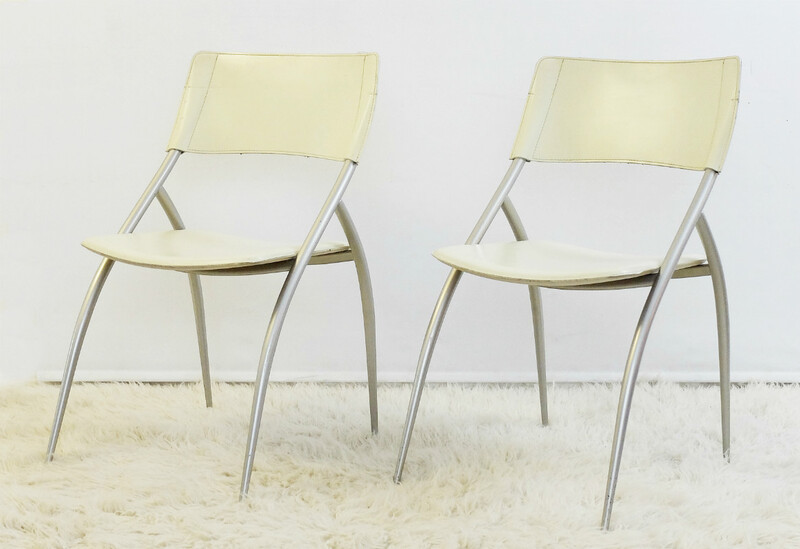 Pair of Calligaris Leather Chairs - Italy