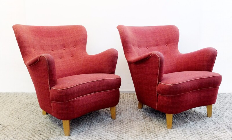 Pair of Carl Malmsten armchairs produced by O. H. Sjogren.