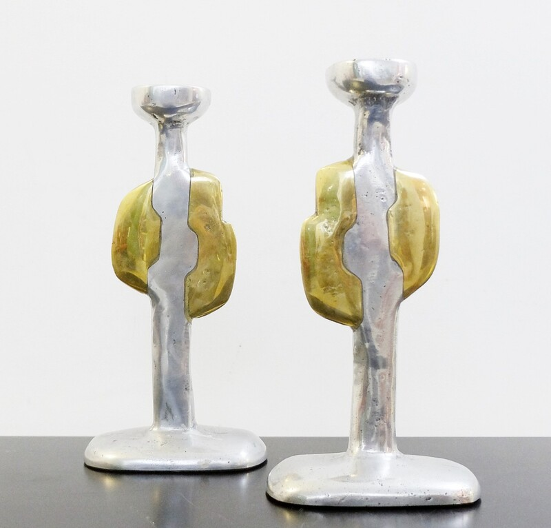 Pair of Cast Aluminium and Brass Candlesticks by David Marshall, Spain 1970