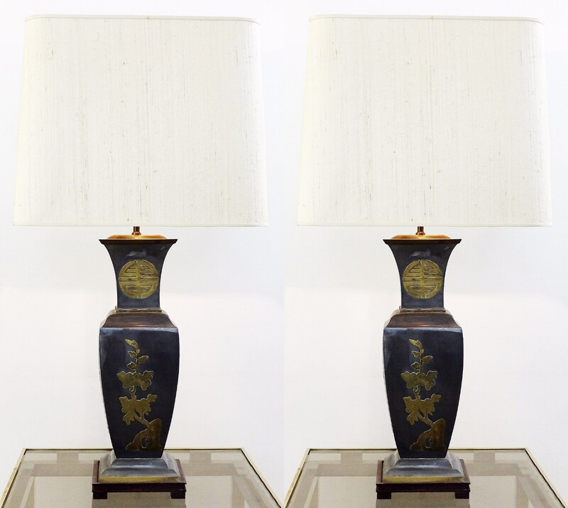Pair of Chinese pewter Table Lamps