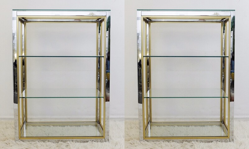 Pair Of Chrome And brass Shelves