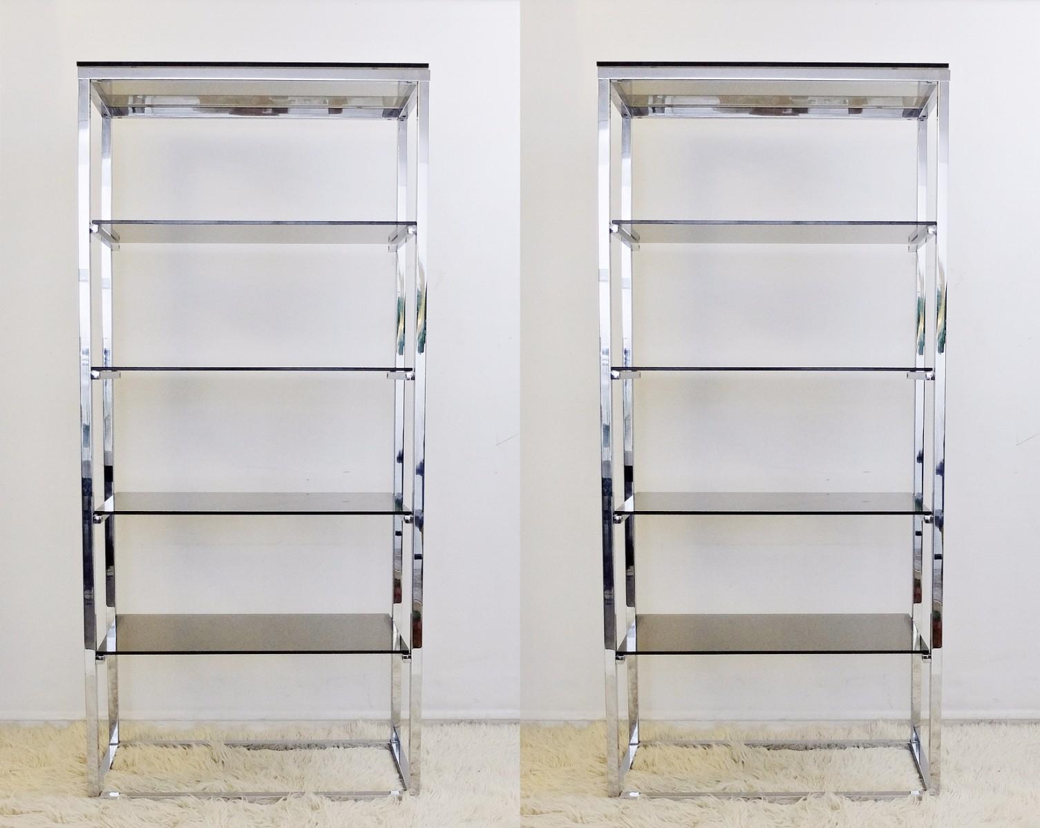 pair of chrome and smoked glass shelves shelf search results rh antiek com chrome glass shelf supports wickes chrome glass shelf supports screwfix