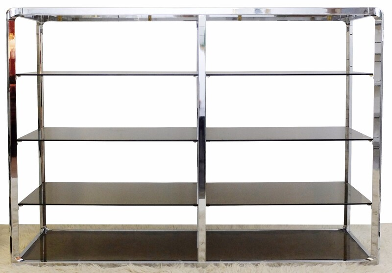 Pair Of Chrome And Smoked Glass Shelves