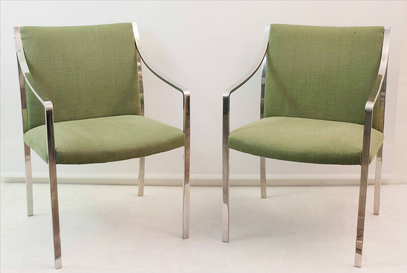 Pair of Chrome Armchairs - Newly Upholstered