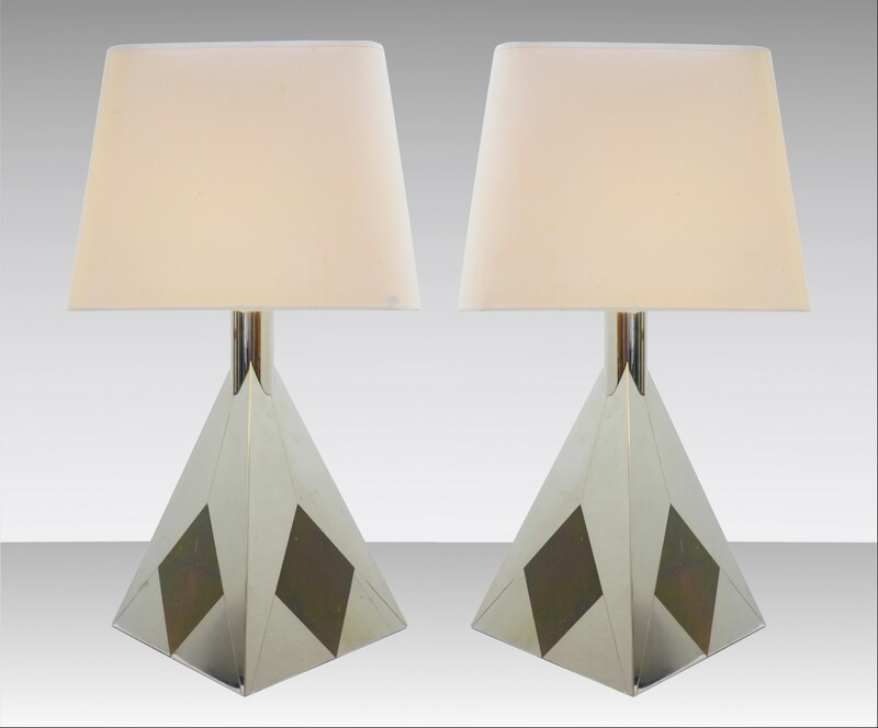 Pair of chrome pyramid table lamps '70