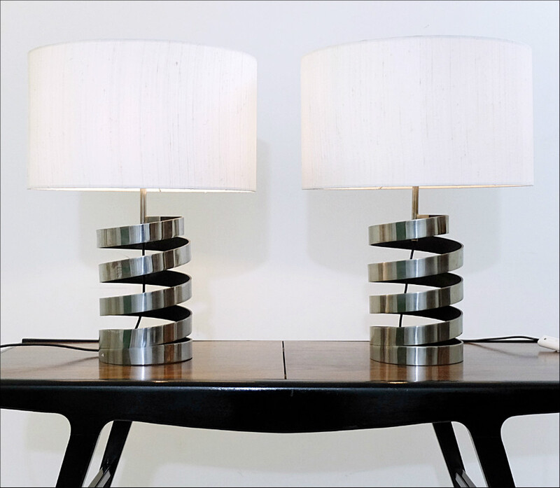Pair of Chrome Spring Coil Table Lamps - Attributed to Charpentier - c - 1970