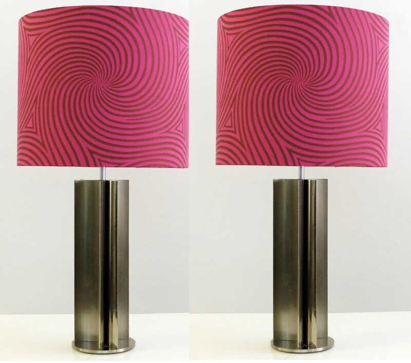 Pair Of Chrome Table Lamps, Circa 1970