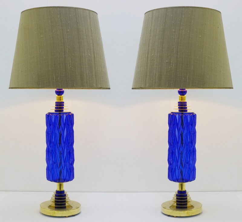 pair of cobalt blue glass