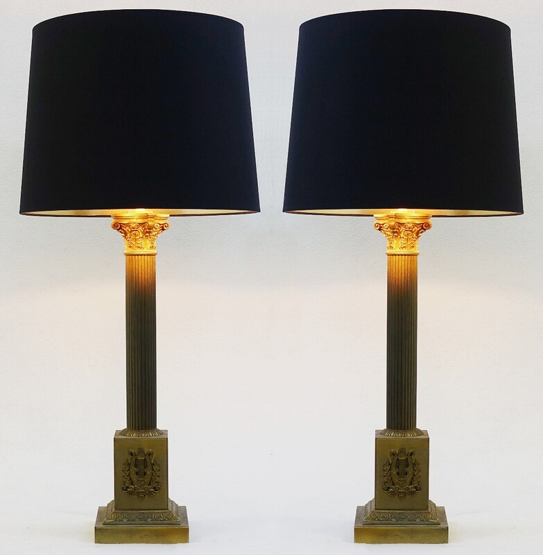 Pair of Column Table Lamps