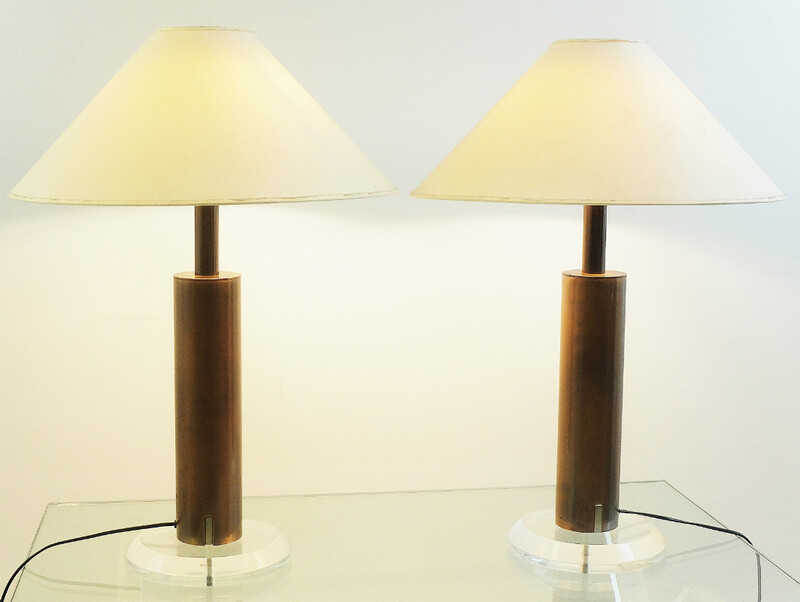 Pair Of Copper And Plexi Lamps